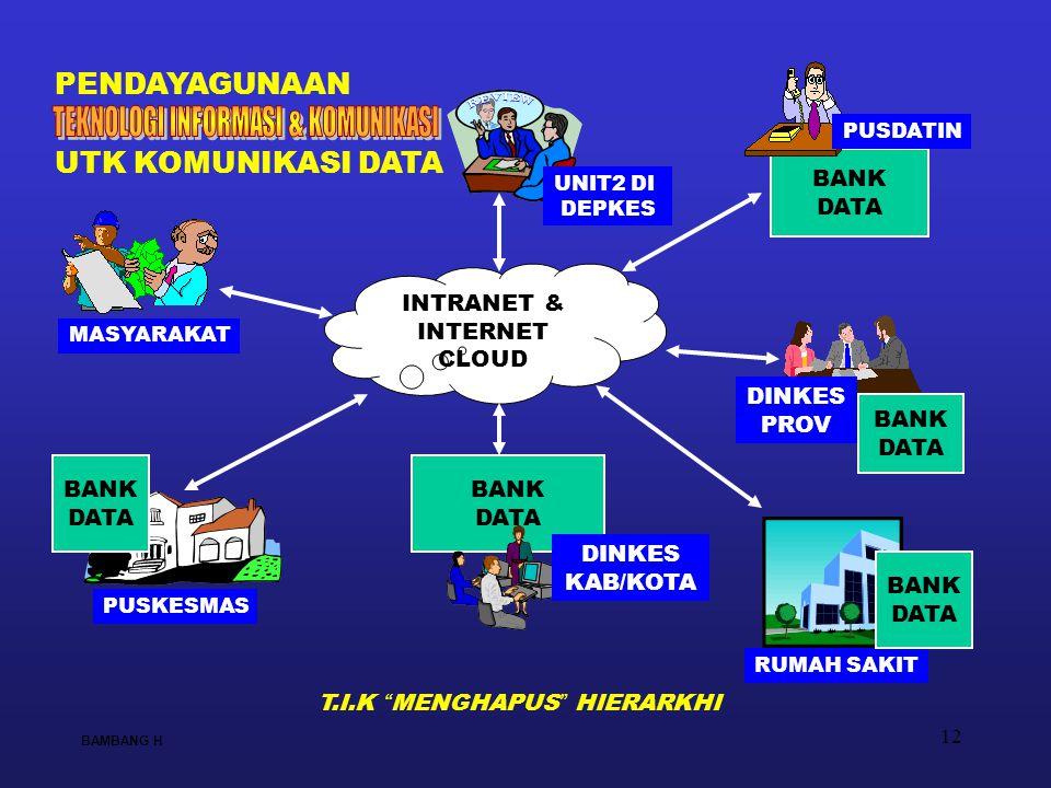 12 BANK DATA INTRANET & INTERNET CLOUD BANK DATA DINKES KAB/KOTA PUSKESMAS RUMAH SAKIT UNIT2 DI DEPKES MASYARAKAT BAMBANG H PENDAYAGUNAAN BANK DATA BA