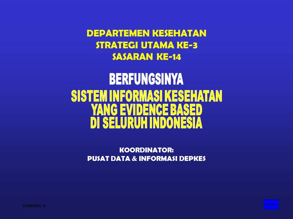 DEPARTEMEN KESEHATAN STRATEGI UTAMA KE-3 SASARAN KE-14 KOORDINATOR: PUSAT DATA & INFORMASI DEPKES BAHAR BAMBANG H