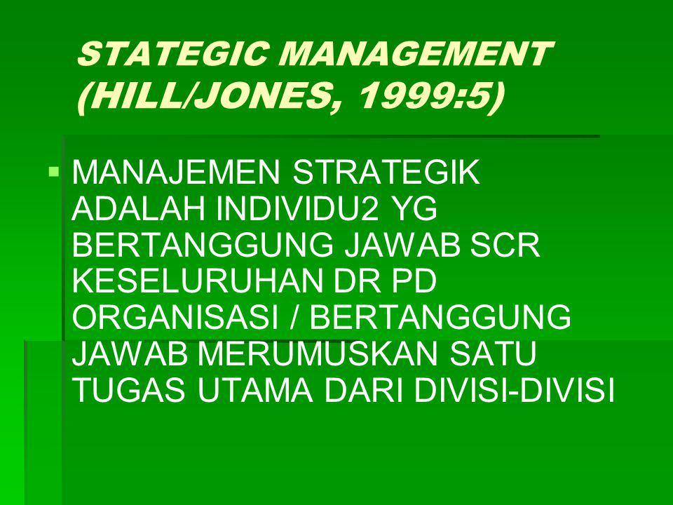 STATEGIC MANAGEMENT (HILL/JONES, 1999:5)   MANAJEMEN STRATEGIK ADALAH INDIVIDU2 YG BERTANGGUNG JAWAB SCR KESELURUHAN DR PD ORGANISASI / BERTANGGUNG