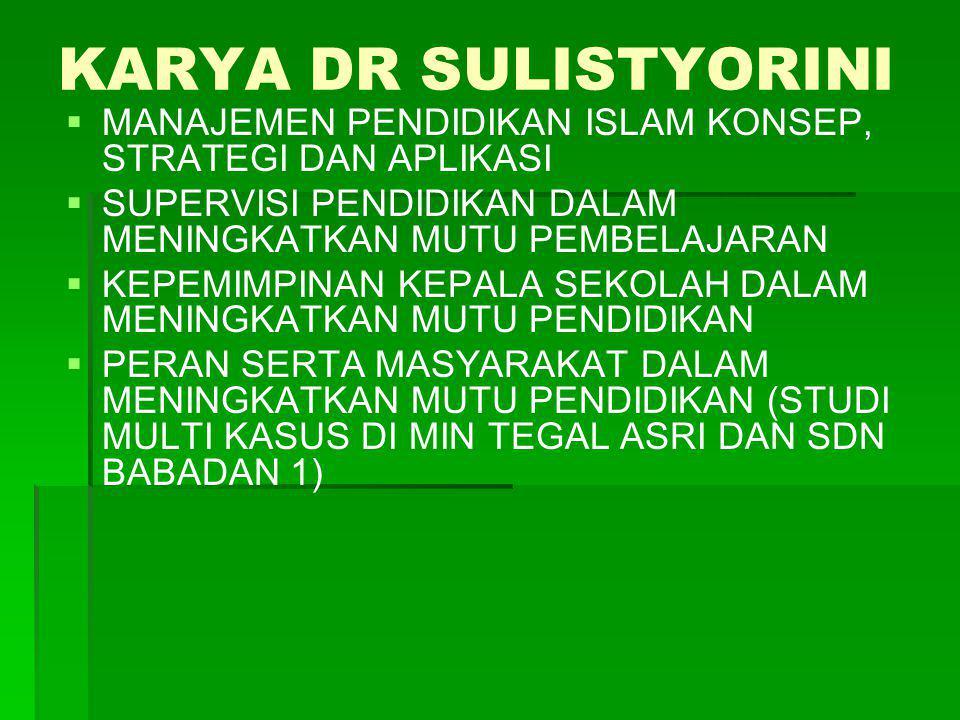 KARYA DR SULISTYORINI   MANAJEMEN PENDIDIKAN ISLAM KONSEP, STRATEGI DAN APLIKASI   SUPERVISI PENDIDIKAN DALAM MENINGKATKAN MUTU PEMBELAJARAN   K