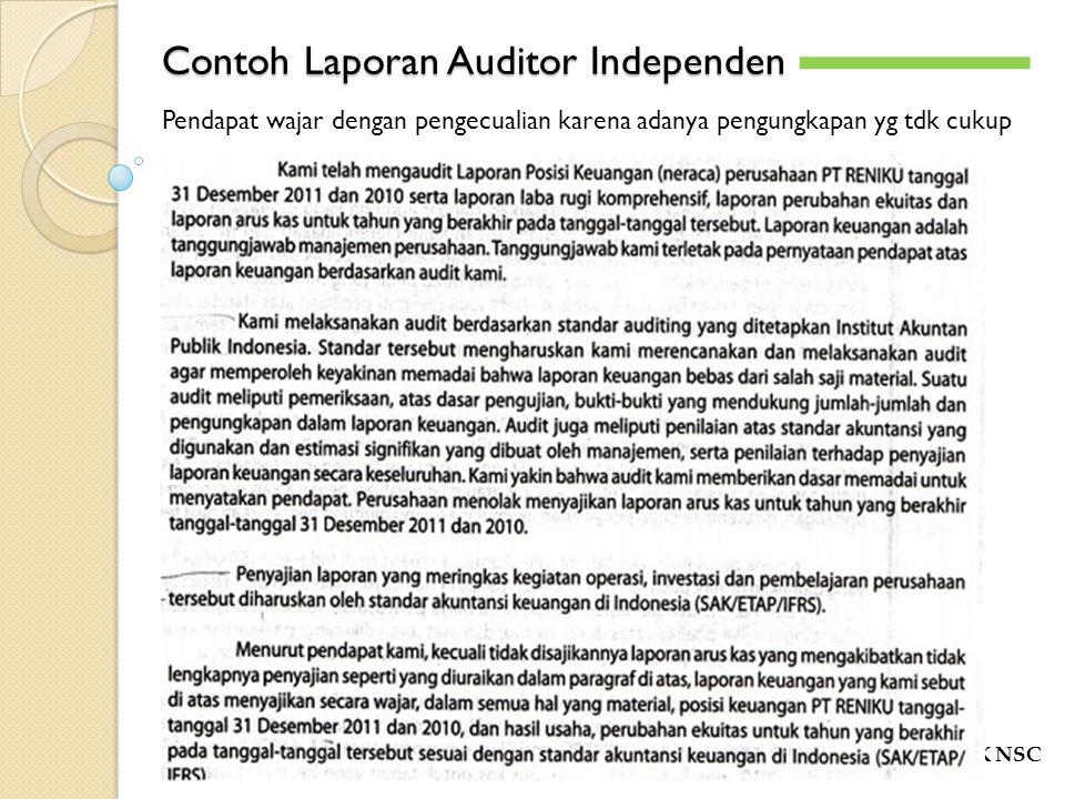Contoh Laporan Auditor Independen POLITEKNIK NSC -`-` Pendapat wajar dengan pengecualian karena adanya pengungkapan yg tdk cukup