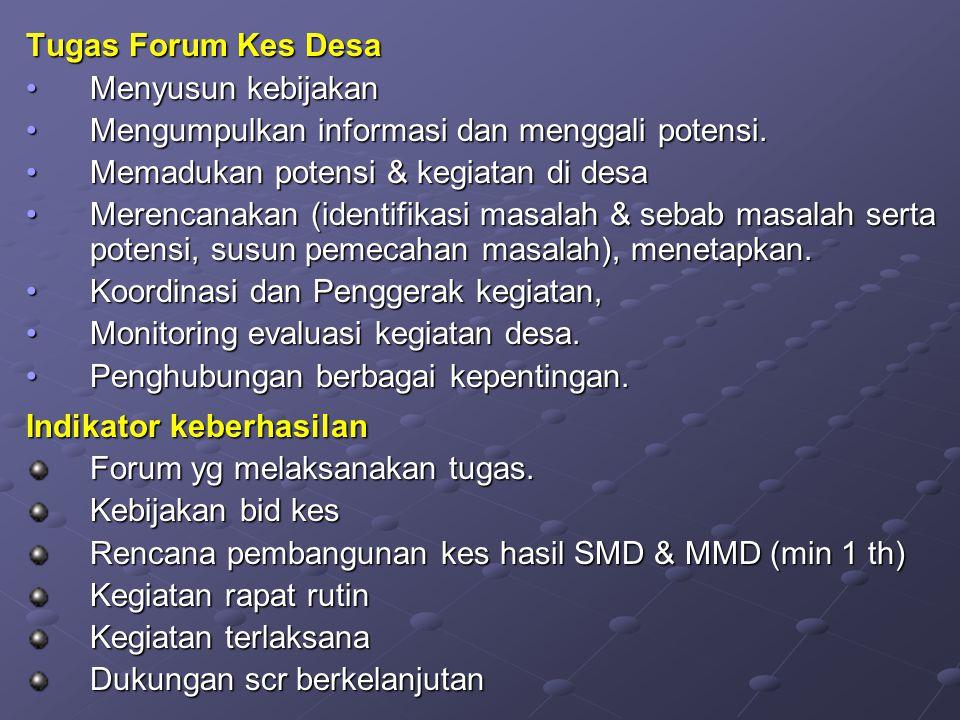 Tugas Forum Kes Desa Menyusun kebijakanMenyusun kebijakan Mengumpulkan informasi dan menggali potensi.Mengumpulkan informasi dan menggali potensi. Mem