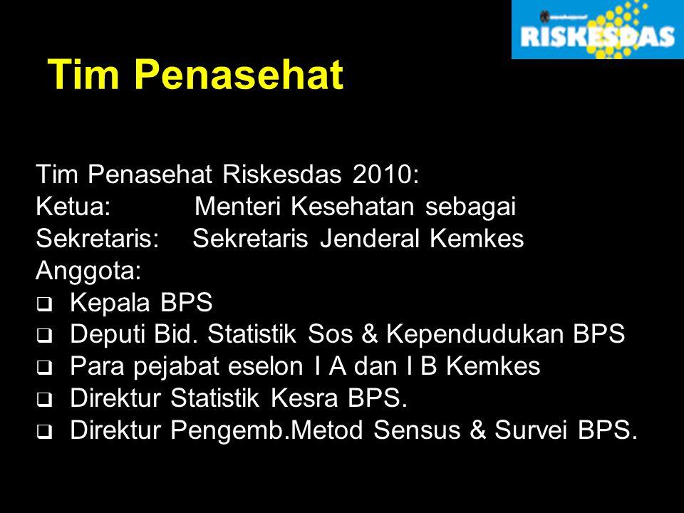 Tim Penasehat Tim Penasehat Riskesdas 2010: Ketua: Menteri Kesehatan sebagai Sekretaris: Sekretaris Jenderal Kemkes Anggota:  Kepala BPS  Deputi Bid