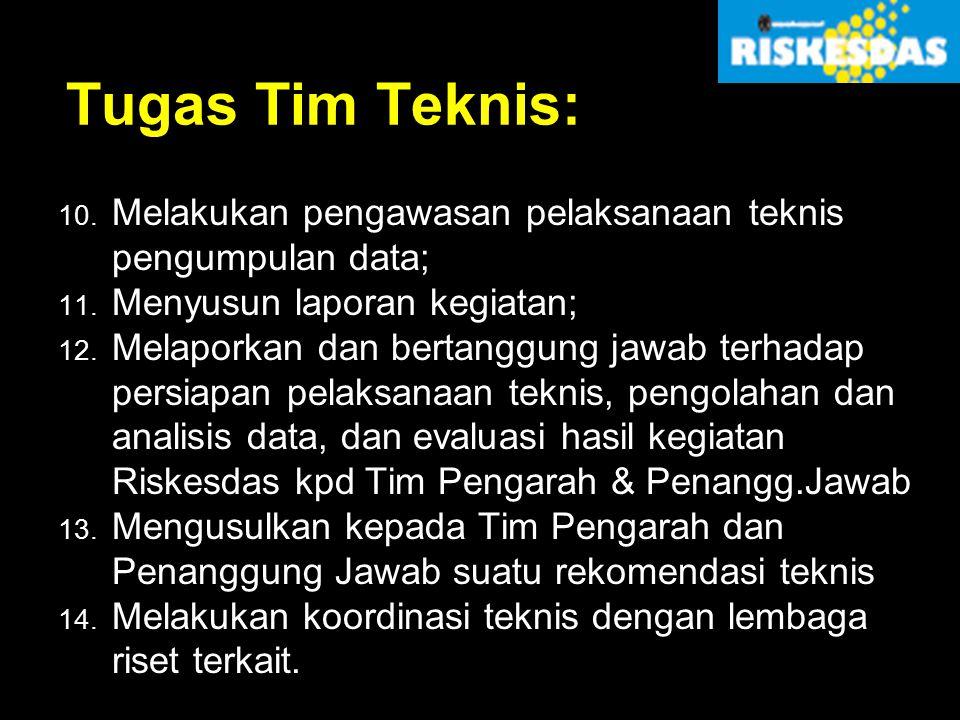 Tugas Tim Teknis: 10. Melakukan pengawasan pelaksanaan teknis pengumpulan data; 11. Menyusun laporan kegiatan; 12. Melaporkan dan bertanggung jawab te