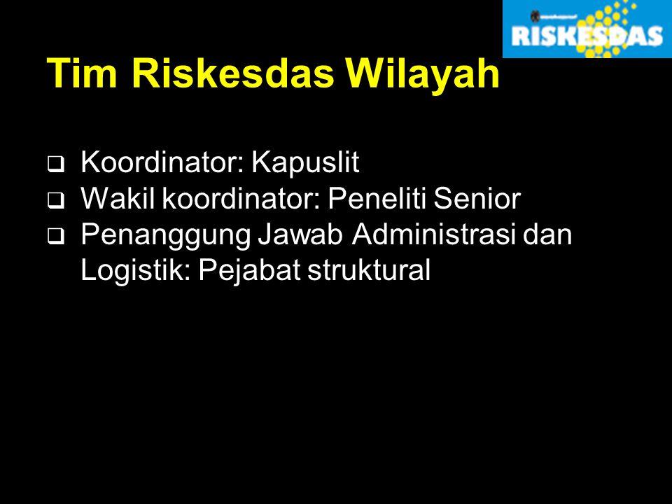 Tim Riskesdas Wilayah  Koordinator: Kapuslit  Wakil koordinator: Peneliti Senior  Penanggung Jawab Administrasi dan Logistik: Pejabat struktural