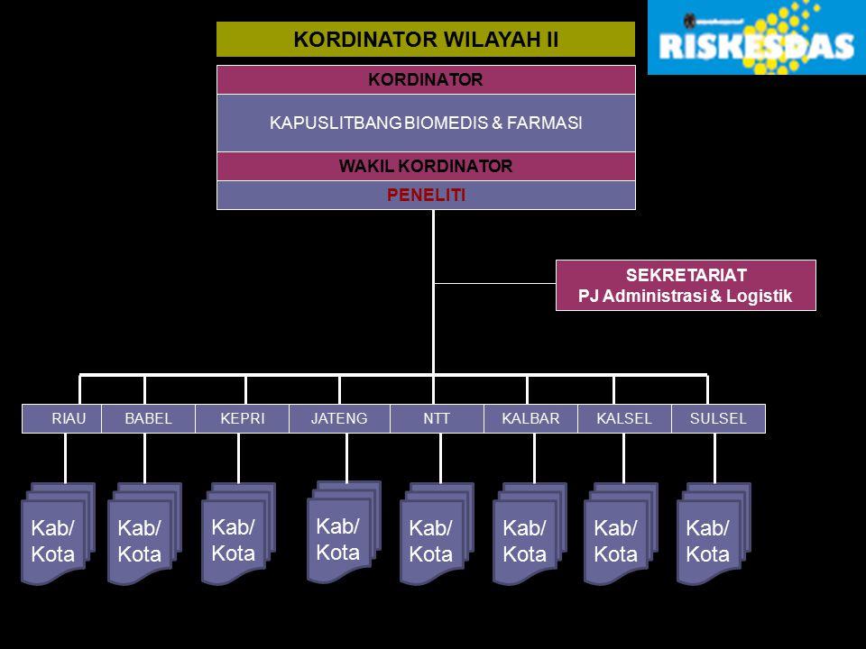 KORDINATOR WILAYAH II KORDINATOR KAPUSLITBANG BIOMEDIS & FARMASI WAKIL KORDINATOR PENELITI RIAUBABELKEPRIJATENGNTTKALBARKALSELSULSEL Kab/ Kota Kab/ Ko
