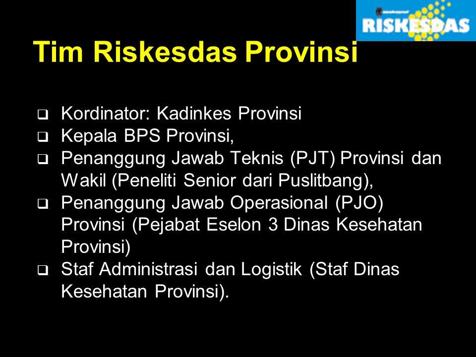 Tim Riskesdas Provinsi  Kordinator: Kadinkes Provinsi  Kepala BPS Provinsi,  Penanggung Jawab Teknis (PJT) Provinsi dan Wakil (Peneliti Senior dari