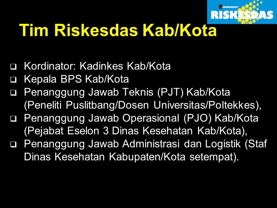 Tim Riskesdas Kab/Kota  Kordinator: Kadinkes Kab/Kota  Kepala BPS Kab/Kota  Penanggung Jawab Teknis (PJT) Kab/Kota (Peneliti Puslitbang/Dosen Unive