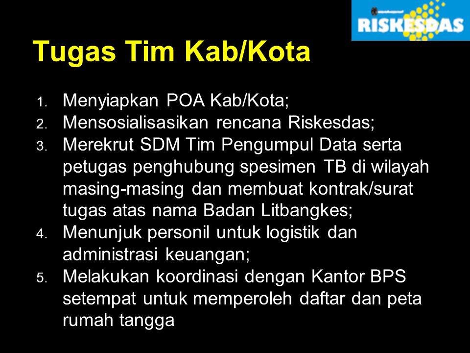 Tugas Tim Kab/Kota 1. Menyiapkan POA Kab/Kota; 2. Mensosialisasikan rencana Riskesdas; 3. Merekrut SDM Tim Pengumpul Data serta petugas penghubung spe
