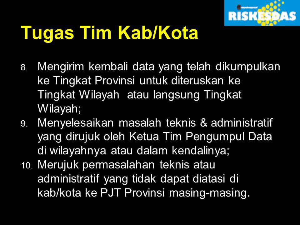 Tugas Tim Kab/Kota 8. Mengirim kembali data yang telah dikumpulkan ke Tingkat Provinsi untuk diteruskan ke Tingkat Wilayah atau langsung Tingkat Wilay