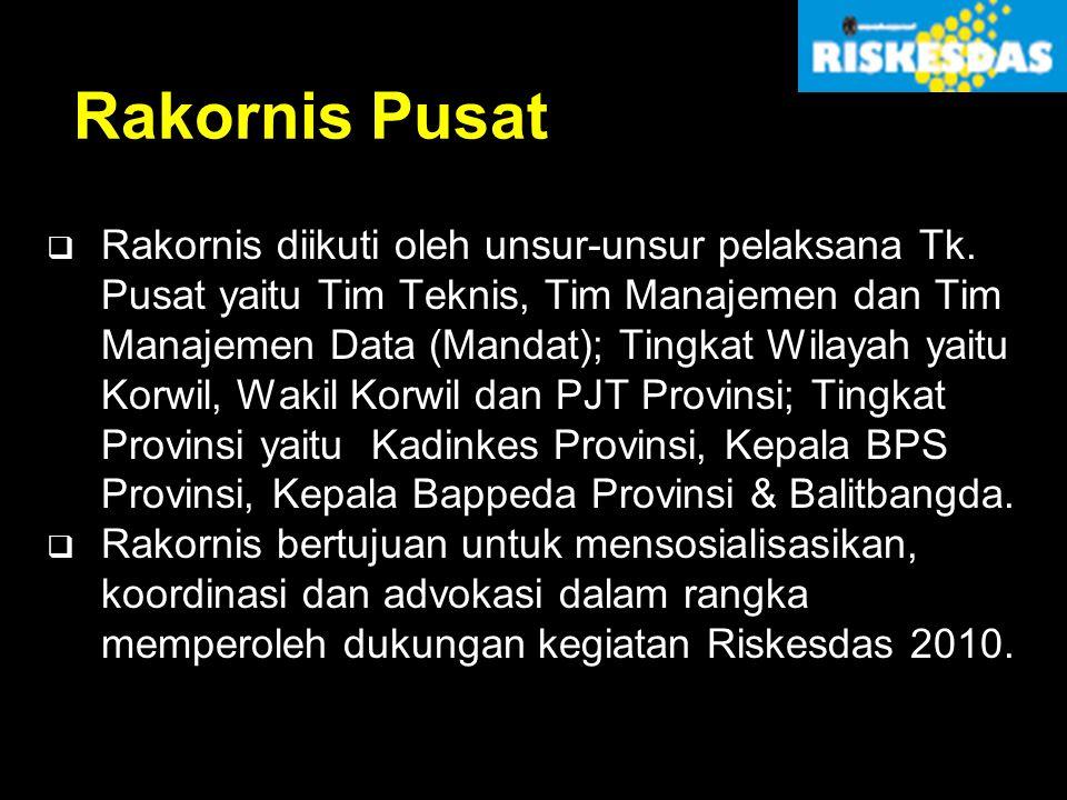 Rakornis Pusat  Rakornis diikuti oleh unsur-unsur pelaksana Tk. Pusat yaitu Tim Teknis, Tim Manajemen dan Tim Manajemen Data (Mandat); Tingkat Wilaya