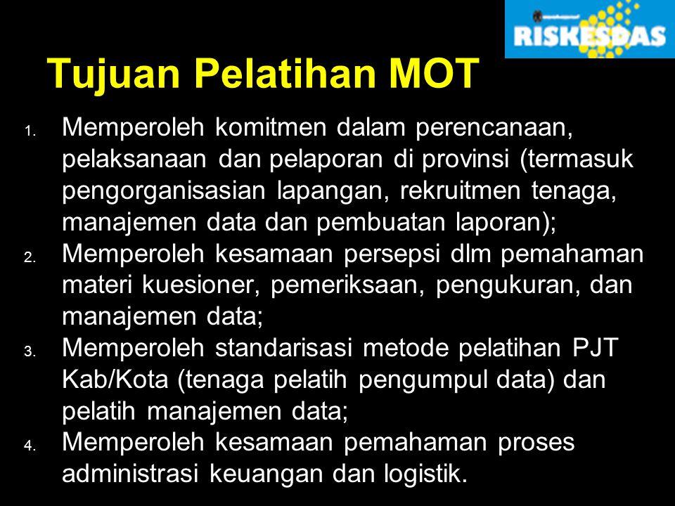 Tujuan Pelatihan MOT 1. Memperoleh komitmen dalam perencanaan, pelaksanaan dan pelaporan di provinsi (termasuk pengorganisasian lapangan, rekruitmen t