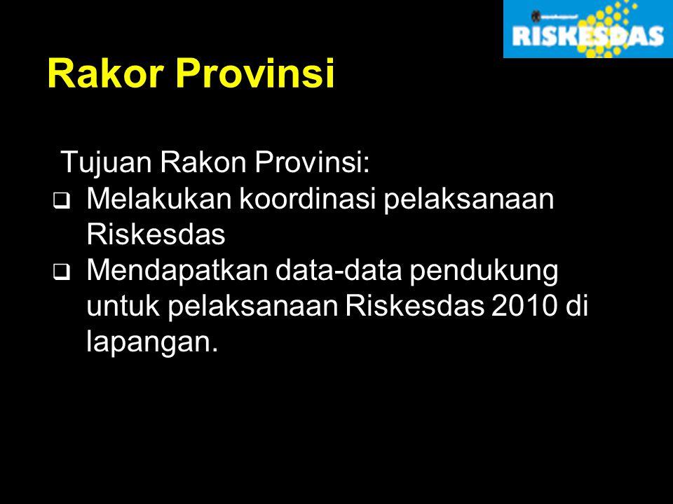 Rakor Provinsi Tujuan Rakon Provinsi:  Melakukan koordinasi pelaksanaan Riskesdas  Mendapatkan data-data pendukung untuk pelaksanaan Riskesdas 2010