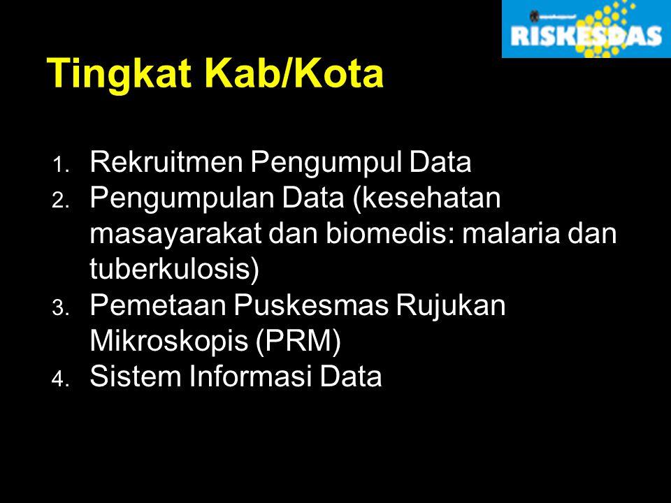 Tingkat Kab/Kota 1. Rekruitmen Pengumpul Data 2. Pengumpulan Data (kesehatan masayarakat dan biomedis: malaria dan tuberkulosis) 3. Pemetaan Puskesmas