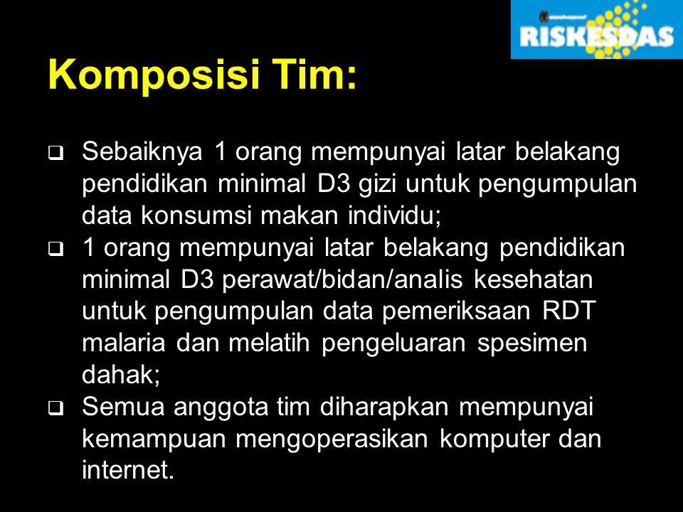 Komposisi Tim:  Sebaiknya 1 orang mempunyai latar belakang pendidikan minimal D3 gizi untuk pengumpulan data konsumsi makan individu;  1 orang mempu