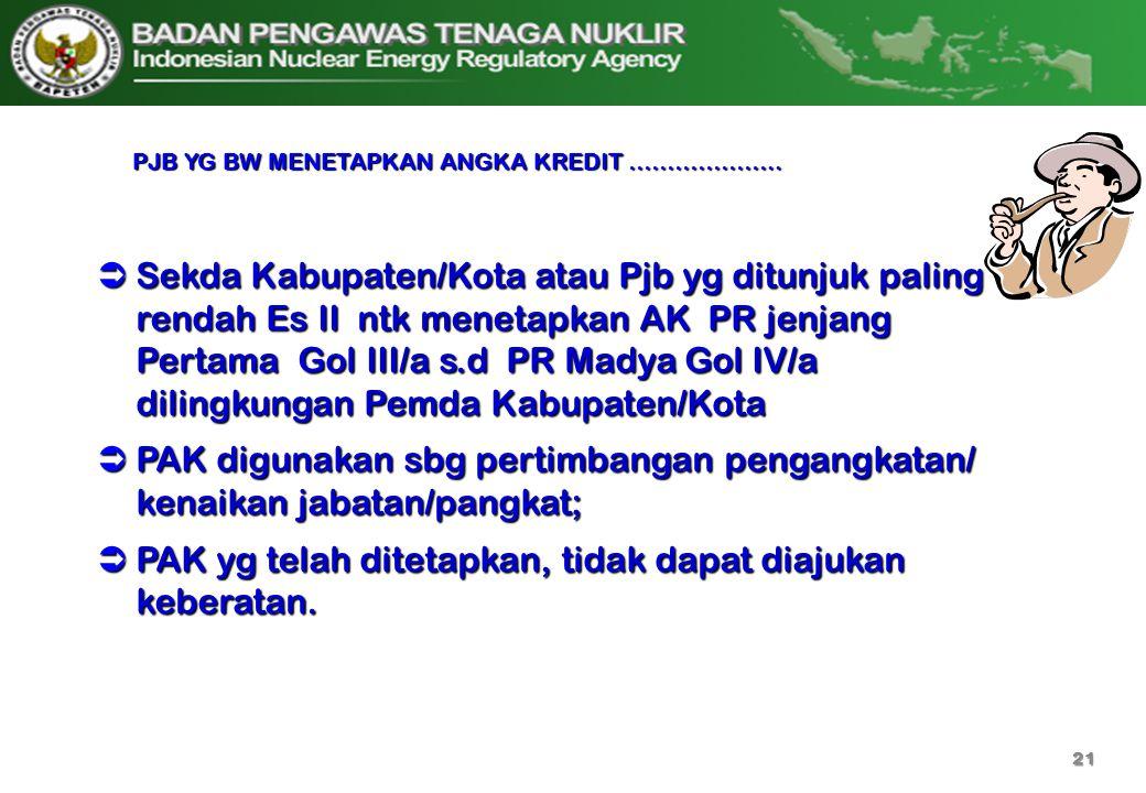  Sekda Kabupaten/Kota atau Pjb yg ditunjuk paling rendah Es II ntk menetapkan AK PR jenjang Pertama Gol III/a s.d PR Madya Gol IV/a dilingkungan Pemd
