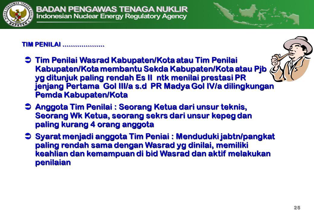  Tim Penilai Wasrad Kabupaten/Kota atau Tim Penilai Kabupaten/Kota membantu Sekda Kabupaten/Kota atau Pjb yg ditunjuk paling rendah Es II ntk menilai