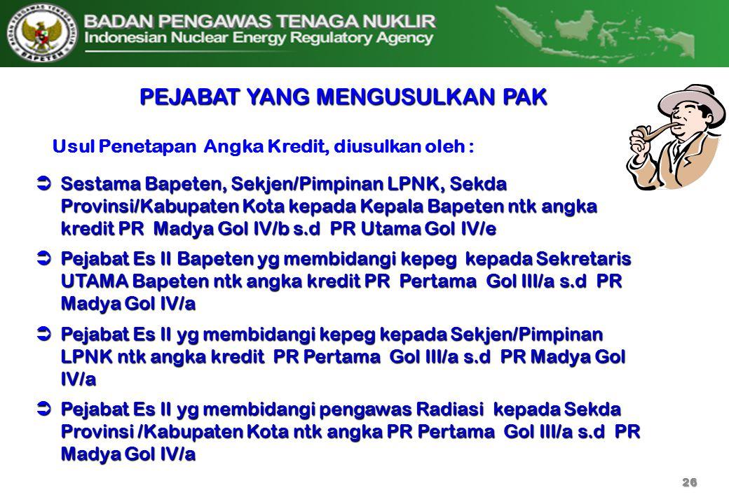  Sestama Bapeten, Sekjen/Pimpinan LPNK, Sekda Provinsi/Kabupaten Kota kepada Kepala Bapeten ntk angka kredit PR Madya Gol IV/b s.d PR Utama Gol IV/e