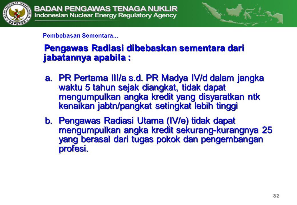 32 Pembebasan Sementara... a.PR Pertama III/a s.d. PR Madya IV/d dalam jangka waktu 5 tahun sejak diangkat, tidak dapat mengumpulkan angka kredit yang