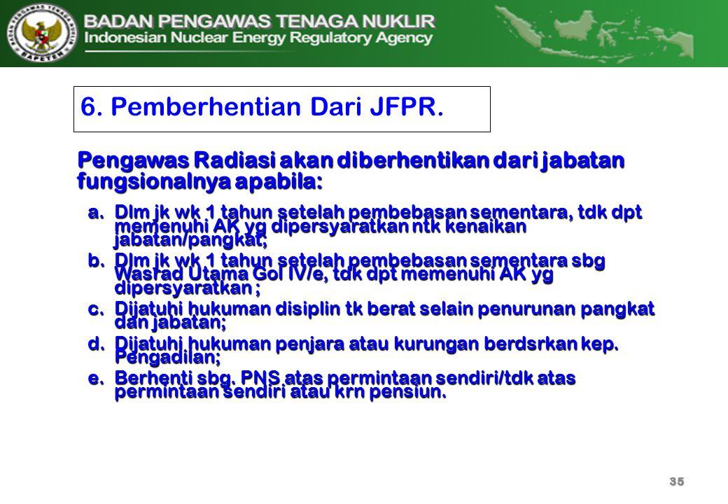 6. Pemberhentian Dari JFPR. a.Dlm jk wk 1 tahun setelah pembebasan sementara, tdk dpt memenuhi AK yg dipersyaratkan ntk kenaikan jabatan/pangkat; b.Dl