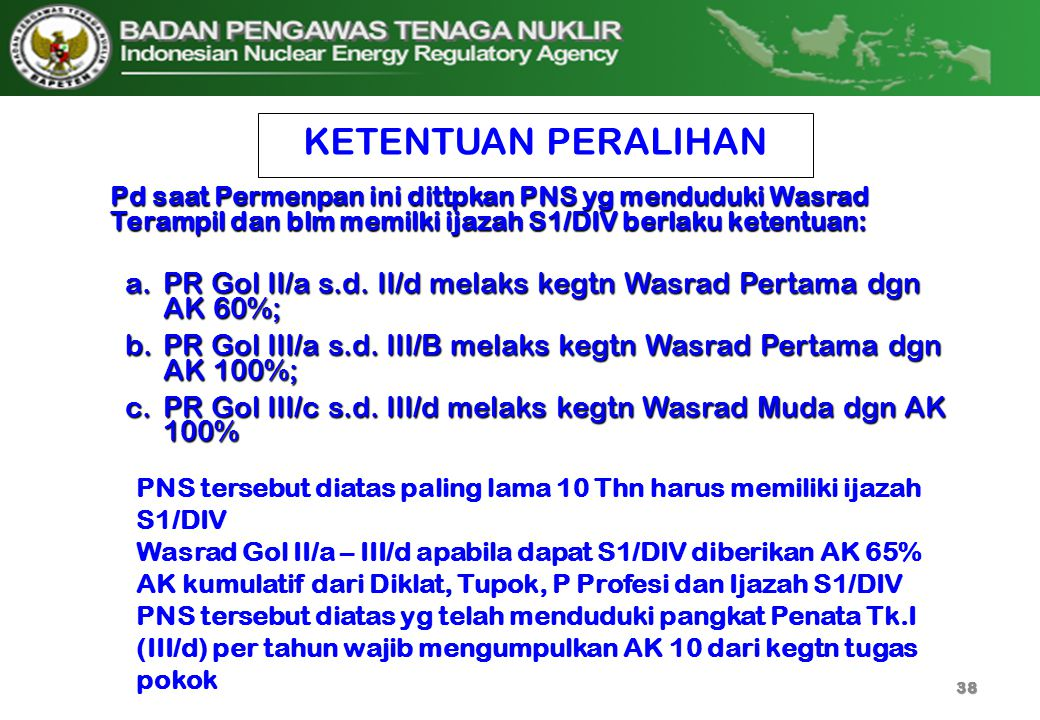 KETENTUAN PERALIHAN a.PR Gol II/a s.d. II/d melaks kegtn Wasrad Pertama dgn AK 60%; b.PR Gol III/a s.d. III/B melaks kegtn Wasrad Pertama dgn AK 100%;