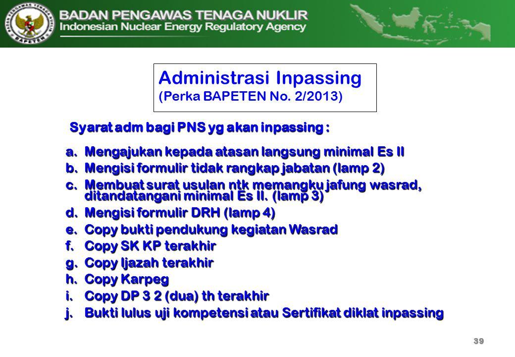 Administrasi Inpassing (Perka BAPETEN No. 2/2013) a.Mengajukan kepada atasan langsung minimal Es II b.Mengisi formulir tidak rangkap jabatan (lamp 2)