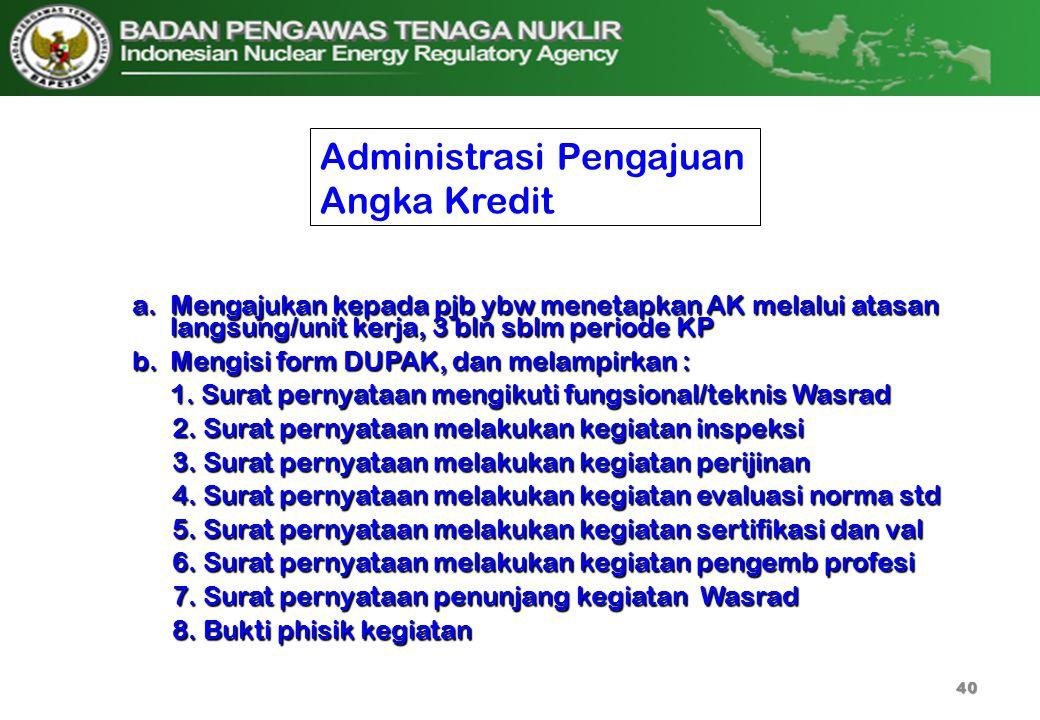 Administrasi Pengajuan Angka Kredit a.Mengajukan kepada pjb ybw menetapkan AK melalui atasan langsung/unit kerja, 3 bln sblm periode KP b.Mengisi form