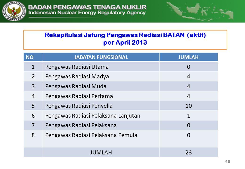Rekapitulasi Jafung Pengawas Radiasi BATAN (aktif) per April 2013 45 NOJABATAN FUNGSIONALJUMLAH 1Pengawas Radiasi Utama0 2Pengawas Radiasi Madya4 3Pen
