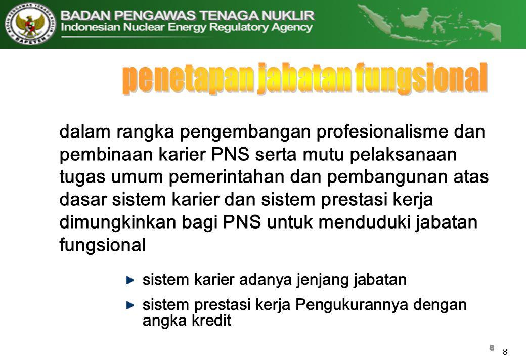 8 8 dalam rangka pengembangan profesionalisme dan pembinaan karier PNS serta mutu pelaksanaan tugas umum pemerintahan dan pembangunan atas dasar siste