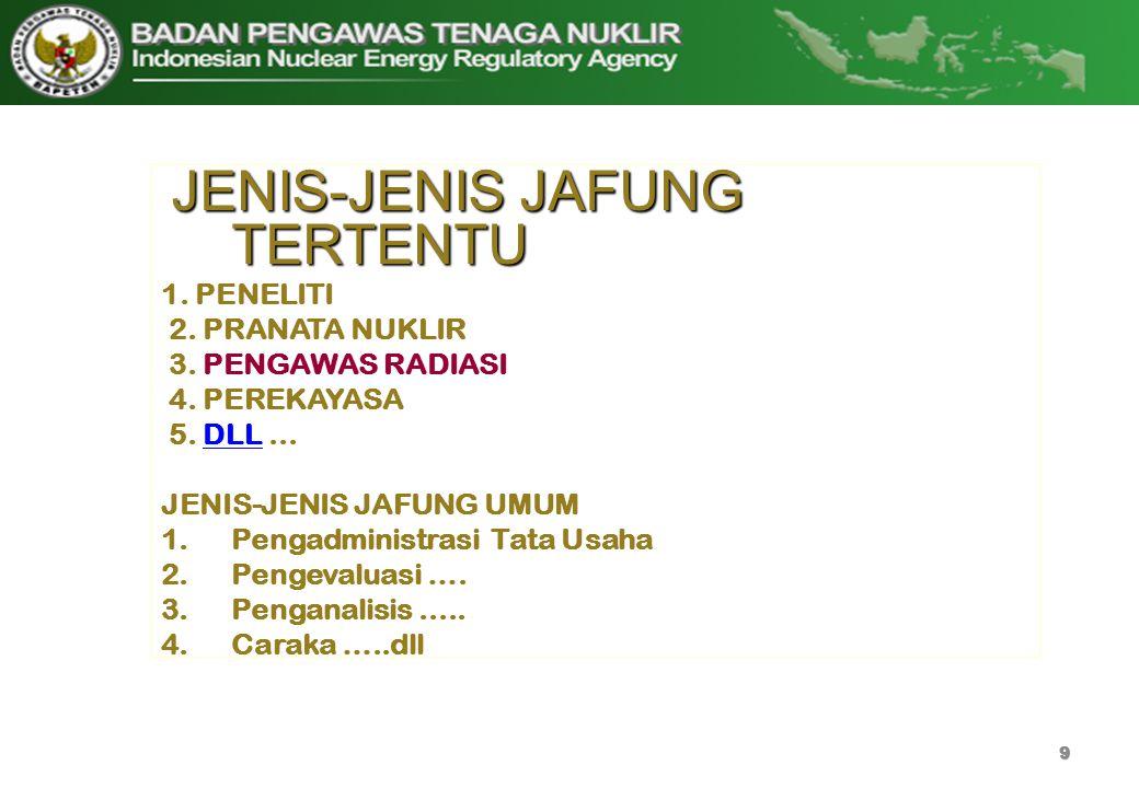 JENIS-JENIS JAFUNG TERTENTU 1. PENELITI 2. PRANATA NUKLIR 3. PENGAWAS RADIASI 4. PEREKAYASA 5. DLL...DLL JENIS-JENIS JAFUNG UMUM 1.Pengadministrasi Ta