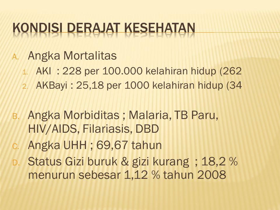 A. Angka Mortalitas 1. AKI : 228 per 100.000 kelahiran hidup (262 2. AKBayi : 25,18 per 1000 kelahiran hidup (34 B. Angka Morbiditas ; Malaria, TB Par