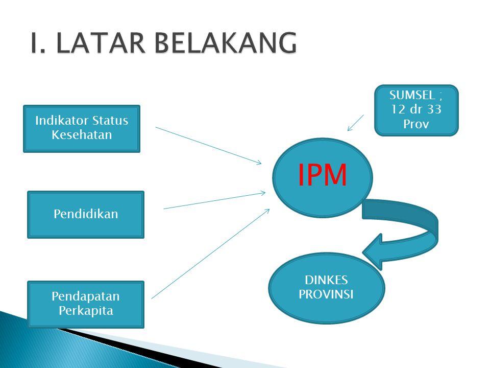IPM Indikator Status Kesehatan Pendidikan Pendapatan Perkapita DINKES PROVINSI SUMSEL ; 12 dr 33 Prov