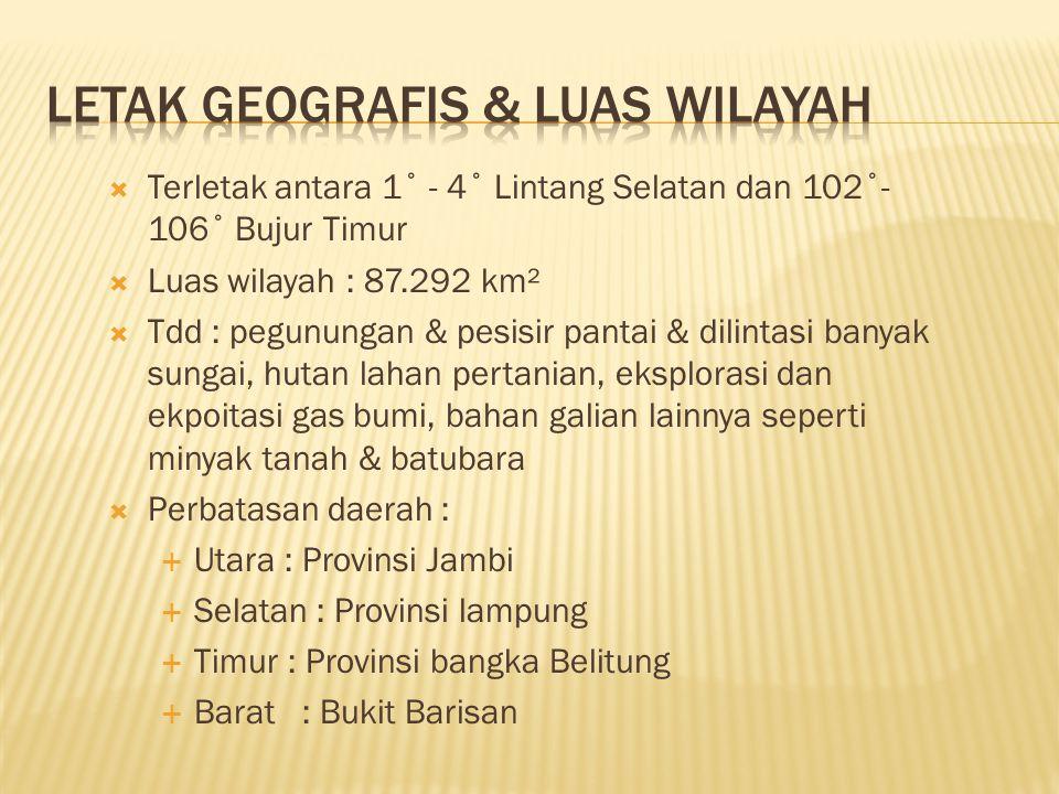  Jumlah Pddk thn 2008 : 7.121.790 jiwa ( BPS, Susenas 2008)  Laki-laki : 3.599.692 jiwa  Perempuan : 3.522.098 jiwa  Laju pertumbuhan pddk : 1,45 %menurun dibanding tahun 2007 : 1,48 %  Rata-rata pddk per KK : 4,29 per KK  Jumlah Kab/Kota: 15  Jumlah Desa : 3003 desa  Jumlah Kepadatan pddk : 82 Km2  Luas wilayah : 87.292,47 Km2