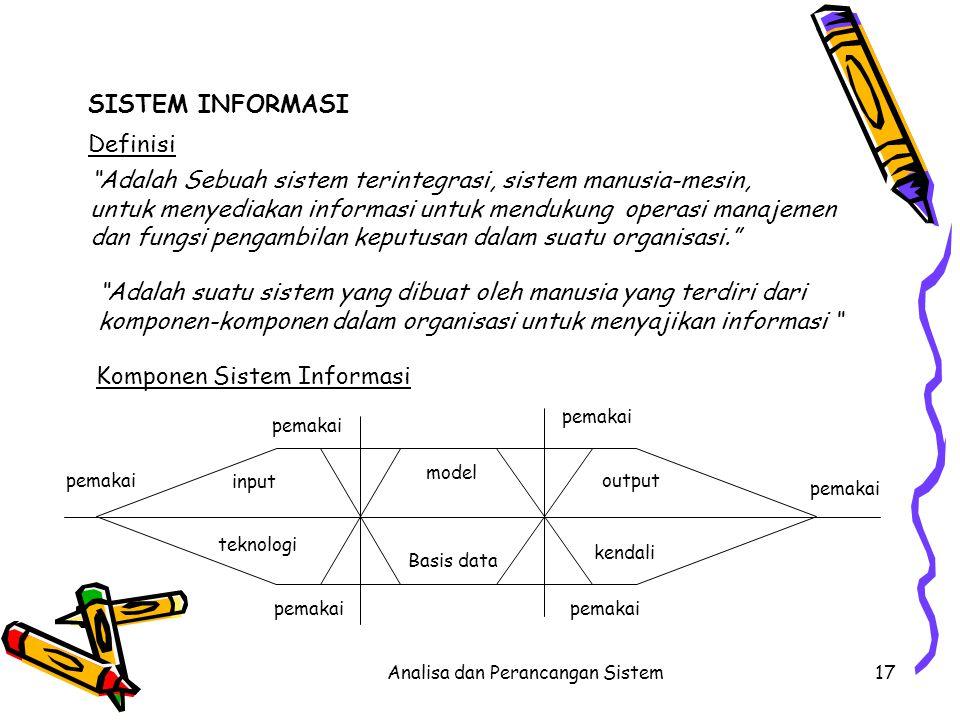 """Analisa dan Perancangan Sistem17 SISTEM INFORMASI """"Adalah Sebuah sistem terintegrasi, sistem manusia-mesin, untuk menyediakan informasi untuk mendukun"""