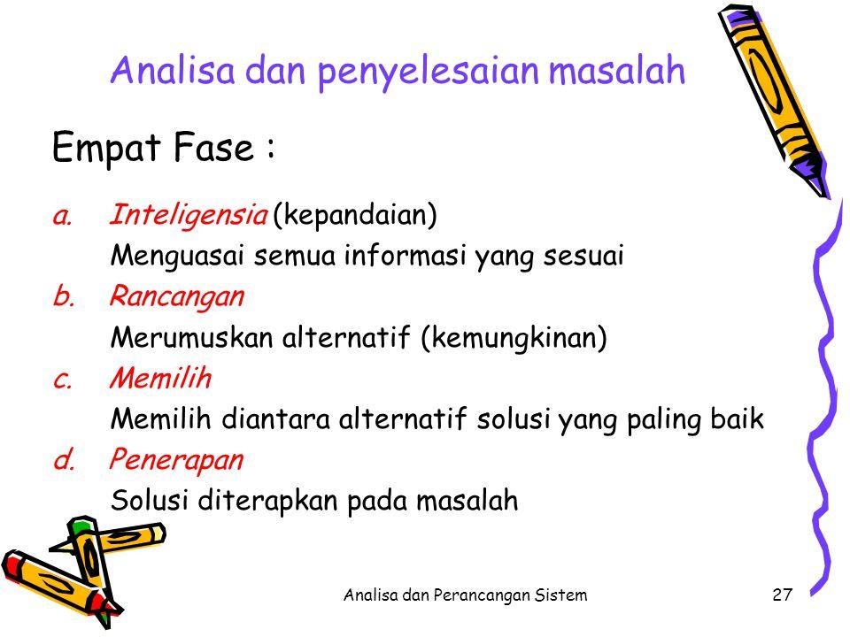 Analisa dan Perancangan Sistem27 Analisa dan penyelesaian masalah Empat Fase : a.Inteligensia (kepandaian) Menguasai semua informasi yang sesuai b.Ran