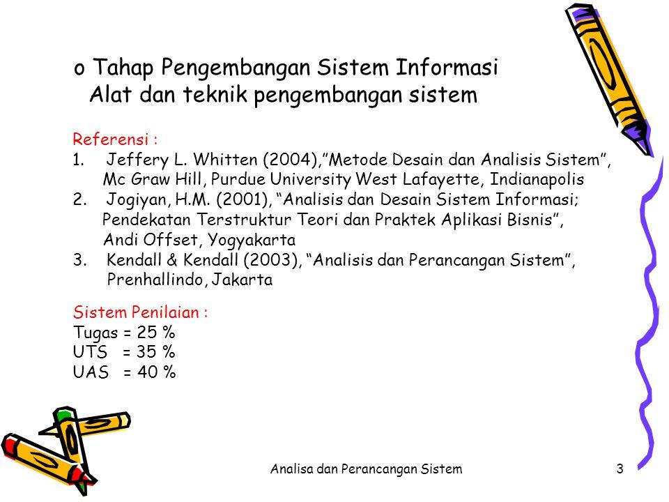 """Analisa dan Perancangan Sistem3 o Tahap Pengembangan Sistem Informasi Alat dan teknik pengembangan sistem Referensi : 1.Jeffery L. Whitten (2004),""""Met"""