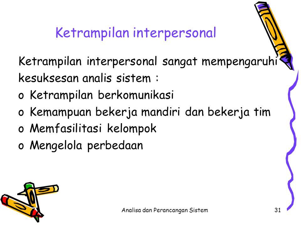 Analisa dan Perancangan Sistem31 Ketrampilan interpersonal Ketrampilan interpersonal sangat mempengaruhi kesuksesan analis sistem : oKetrampilan berko