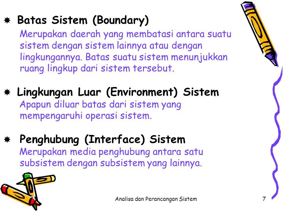 Analisa dan Perancangan Sistem8 Sub sistem Sub sistem Sub sistem inputprosesoutput boundary interface Lingkungan luar Gambar karakteristik suatu sistem