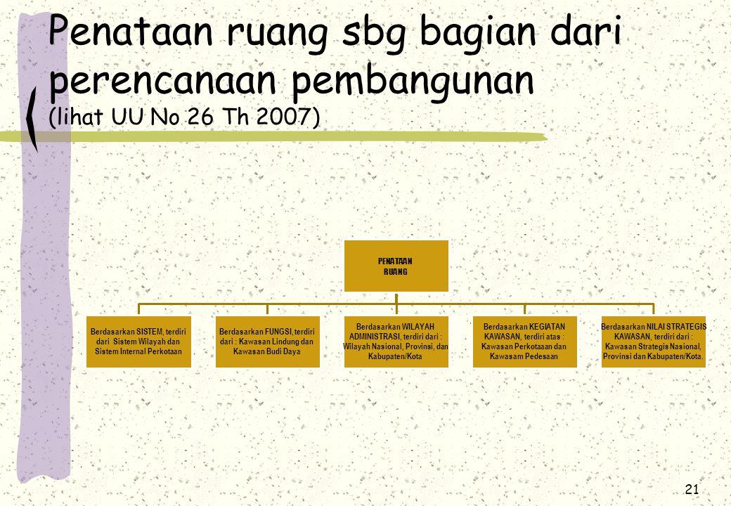 21 Penataan ruang sbg bagian dari perencanaan pembangunan (lihat UU No 26 Th 2007) PENATAAN RUANG Berdasarkan SISTEM, terdiri dari Sistem Wilayah dan Sistem Internal Perkotaan Berdasarkan FUNGSI, terdiri dari : Kawasan Lindung dan Kawasan Budi Daya Berdasarkan WILAYAH ADMINISTRASI, terdiri dari : Wilayah Nasional, Provinsi, dan Kabupaten/Kota Berdasarkan KEGIATAN KAWASAN, terdiri atas : Kawasan Perkotaaan dan Kawasam Pedesaan Berdasarkan NILAI STRATEGIS KAWASAN, terdiri dari : Kawasan Strategis Nasional, Provinsi dan Kabupaten/Kota.