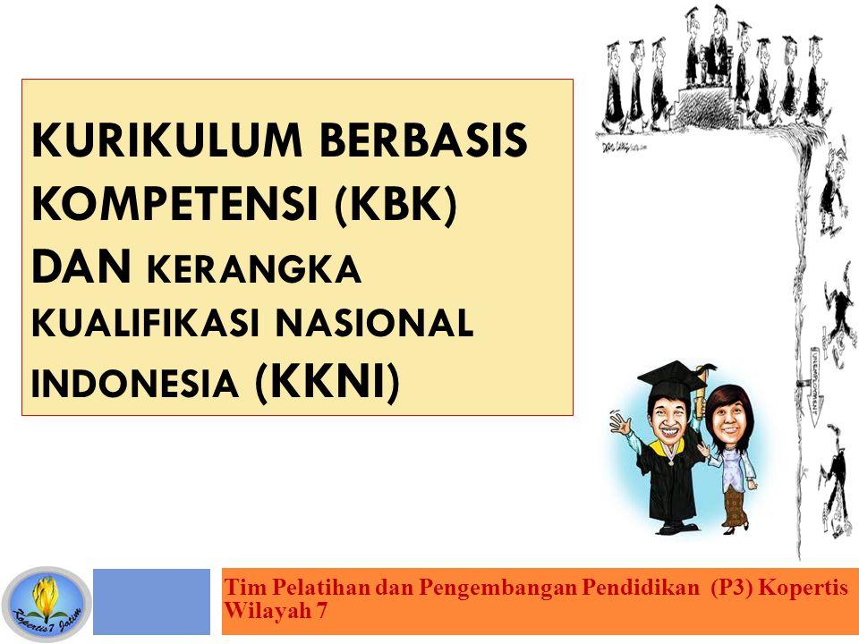 KURIKULUM BERBASIS KOMPETENSI (KBK) DAN KERANGKA KUALIFIKASI NASIONAL INDONESIA (KKNI) Tim Pelatihan dan Pengembangan Pendidikan (P3) Kopertis Wilayah