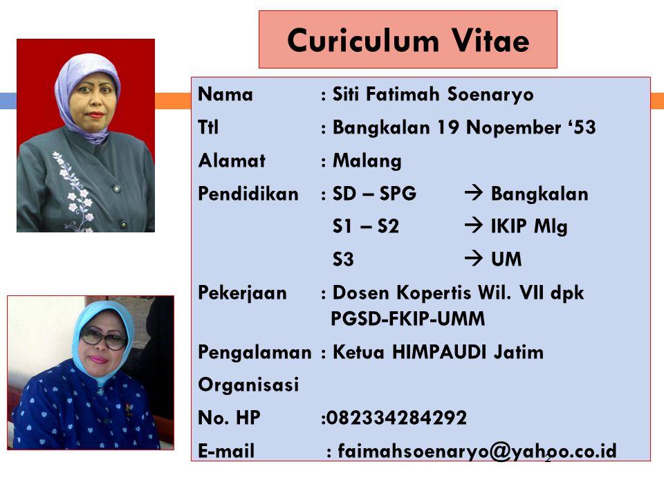 Curiculum Vitae Nama: Siti Fatimah Soenaryo Ttl: Bangkalan 19 Nopember '53 Alamat: Malang Pendidikan: SD – SPG  Bangkalan S1 – S2  IKIP Mlg S3  UM