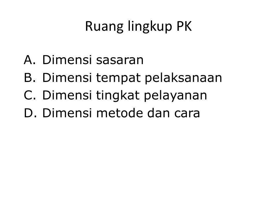 Ruang lingkup PK A.Dimensi sasaran B.Dimensi tempat pelaksanaan C.Dimensi tingkat pelayanan D.Dimensi metode dan cara