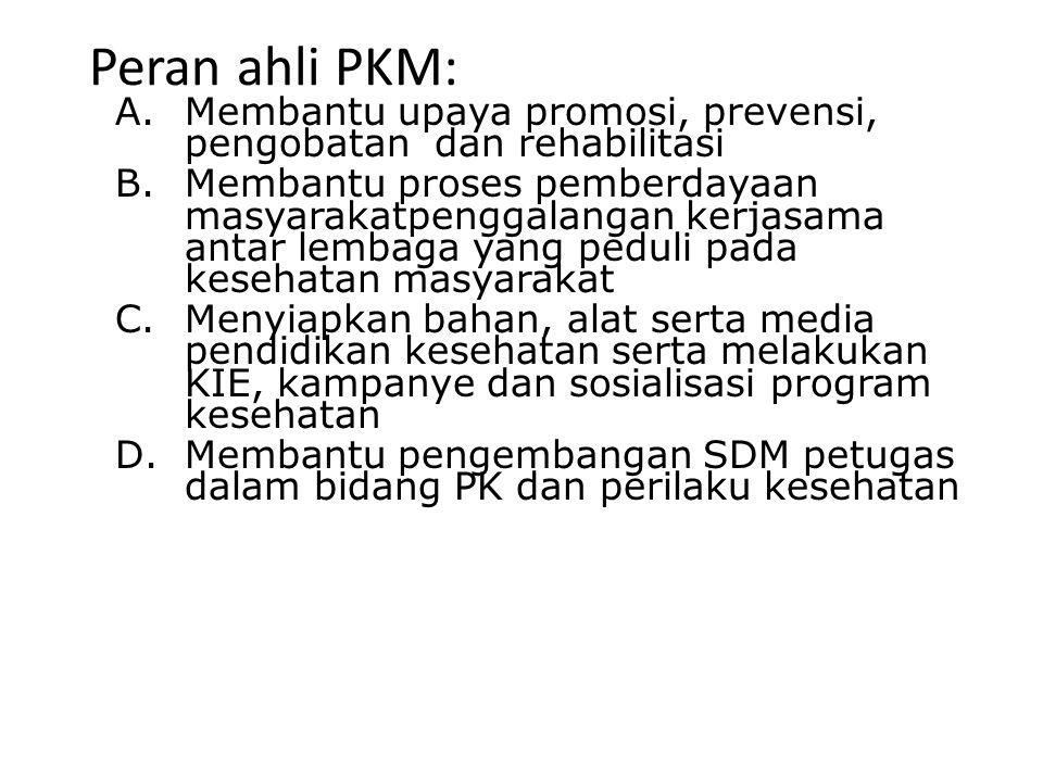 Peran ahli PKM: A.Membantu upaya promosi, prevensi, pengobatan dan rehabilitasi B.Membantu proses pemberdayaan masyarakatpenggalangan kerjasama antar