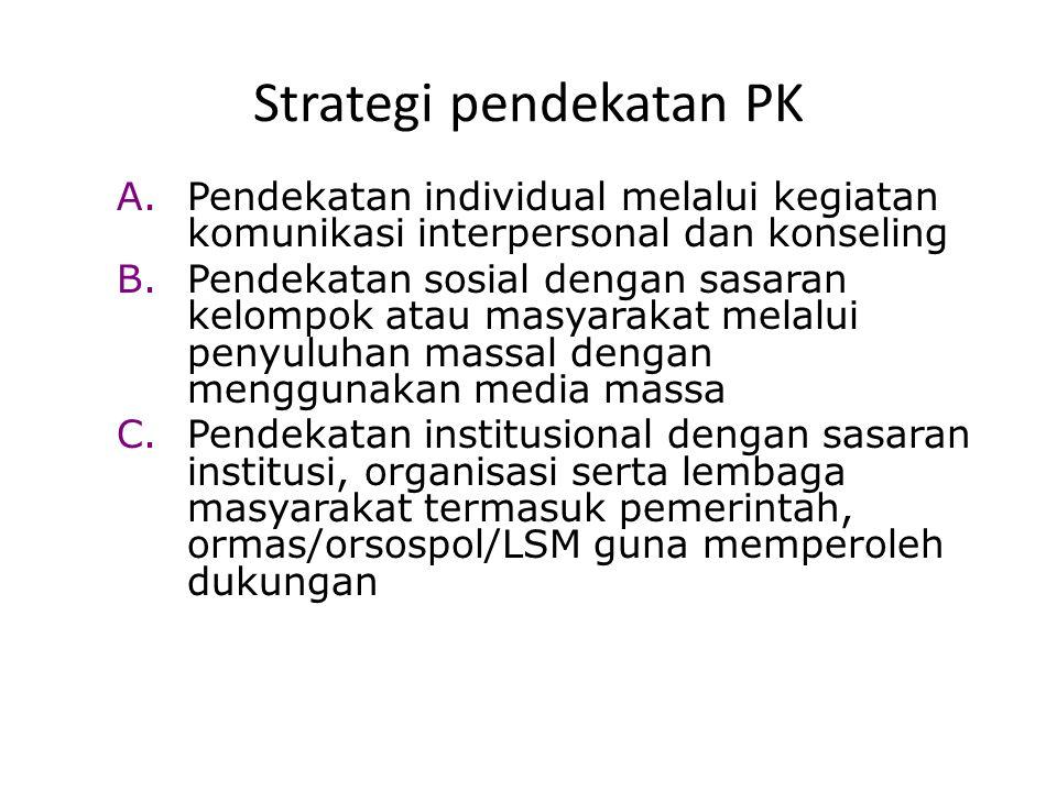 Strategi pendekatan PK A.Pendekatan individual melalui kegiatan komunikasi interpersonal dan konseling B.Pendekatan sosial dengan sasaran kelompok ata