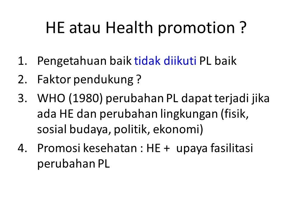 HE atau Health promotion ? 1.Pengetahuan baik tidak diikuti PL baik 2.Faktor pendukung ? 3.WHO (1980) perubahan PL dapat terjadi jika ada HE dan perub