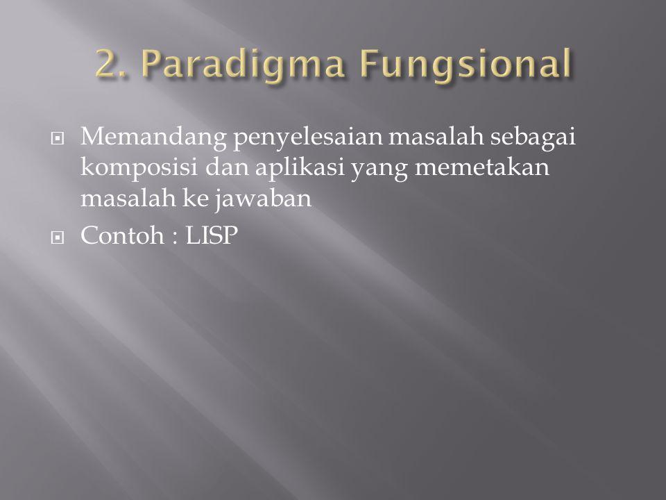  Memandang penyelesaian masalah sebagai komposisi dan aplikasi yang memetakan masalah ke jawaban  Contoh : LISP