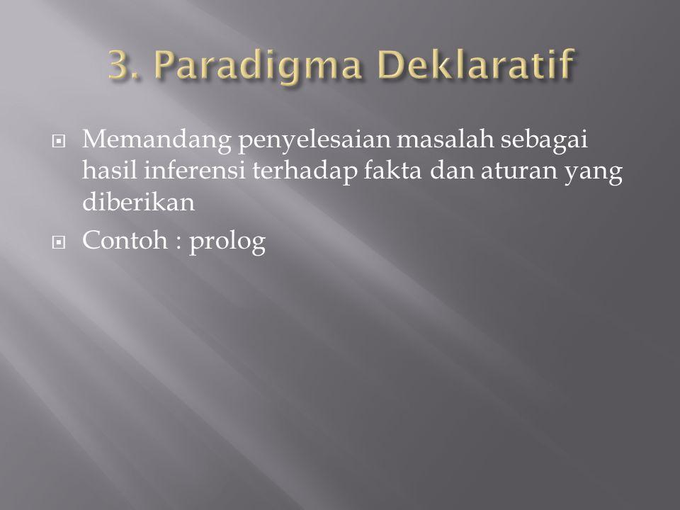  Memandang penyelesaian masalah sebagai hasil inferensi terhadap fakta dan aturan yang diberikan  Contoh : prolog