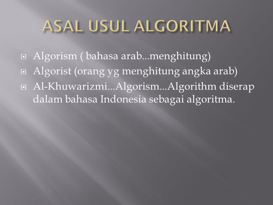  Algorism ( bahasa arab...menghitung)  Algorist (orang yg menghitung angka arab)  Al-Khuwarizmi...Algorism...Algorithm diserap dalam bahasa Indonesia sebagai algoritma.