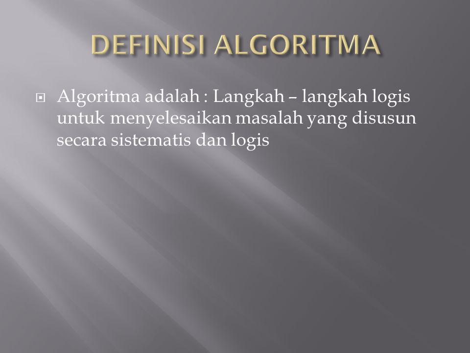 Algoritma adalah : Langkah – langkah logis untuk menyelesaikan masalah yang disusun secara sistematis dan logis