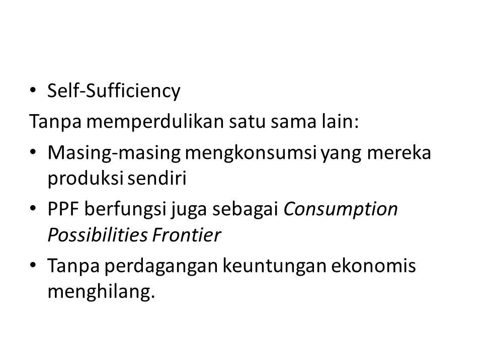 Production Possibilities Self-Sufficiency Tanpa memperdulikan satu sama lain: Masing-masing mengkonsumsi yang mereka produksi sendiri PPF berfungsi juga sebagai Consumption Possibilities Frontier Tanpa perdagangan keuntungan ekonomis menghilang.